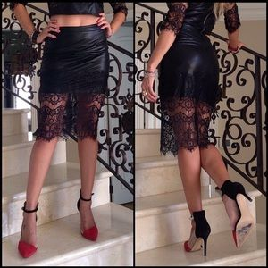 Do & Be Lace Leather Faux Skirt Set